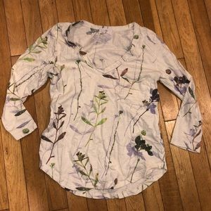Women's T.La top 3/4 sleeve floral tee pocket